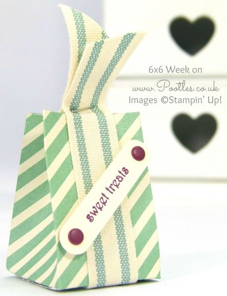 Pootles 6x6 Week #6 Tiny Treat Box Tutorial Single ~ These would be so adorable with Hershey's Kisses or Hugs inside.