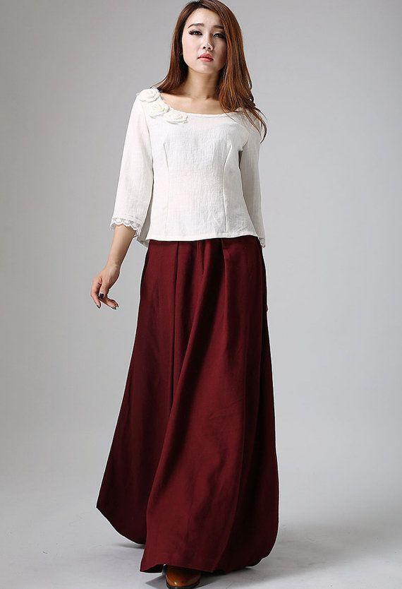 Burgundy skirt maxi skirt wine red skirt full length skirt