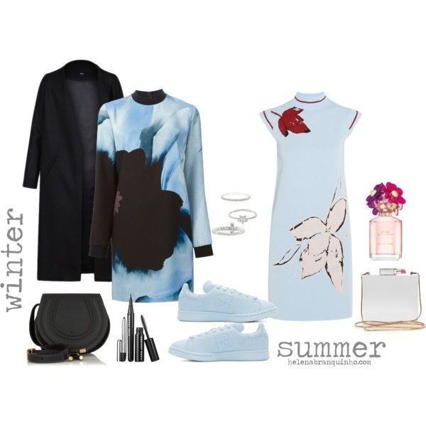 THINK BLUE by helenabranquinho on Polyvore featuring moda, Victoria, Victoria Beckham, SUNO New York, Raf Simons, Chloé, Lulu Guinness, The Skinny, Monica Vinader, Marc Jacobs and floral