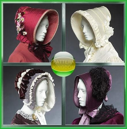 Ladies Early Victorian/Civil War Bonnet Hat Patterns McCalls 5129