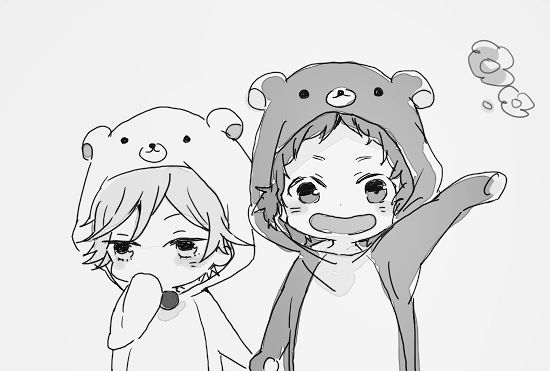 Aren't they adorable?  Anime boys, cute, manga, black and white, chibis. A random edit as I couldn't find the source for the original image. However, it was cropped and I removed the colour.