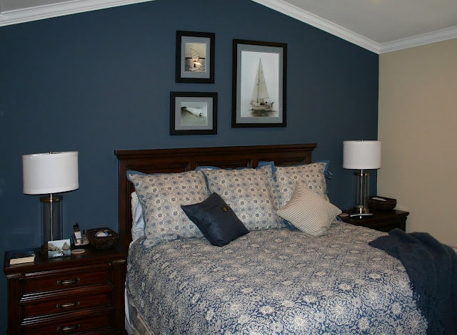 Dark Blue Accent Wall Bedroom