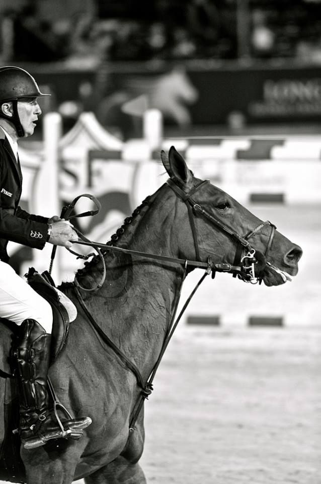 """Bosty has a new nickname! After winning the 140 in Oslo, Roger Yves Bost has been named """"Air France""""! The new European champion who loves the new Guarnieri long boots literally flew with his chestnut Castle Forbes Cosma in 61.36, winning his first Kingsland Horse Show. Photo: noellefloyd"""