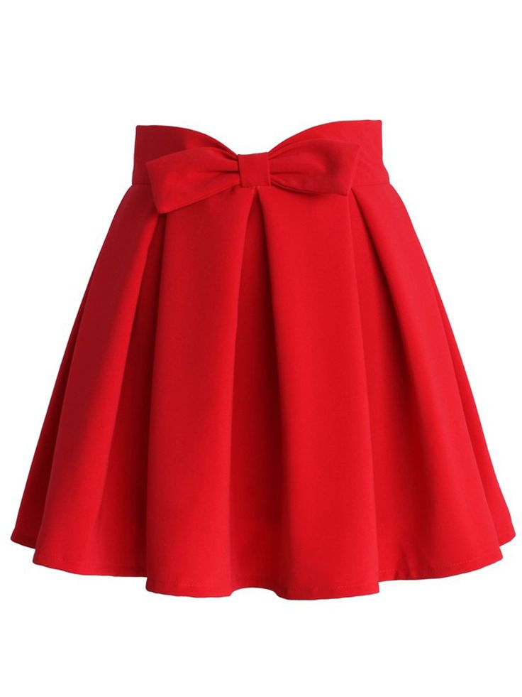 Red Bowknot Waist Pleat Detail Skater Skirt