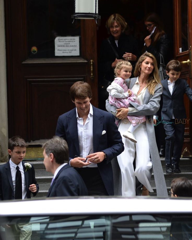 Tom Brady and wife Gisele Bundchen leaving the Church of St. Thomas in NYC with kids Ben and Vivian