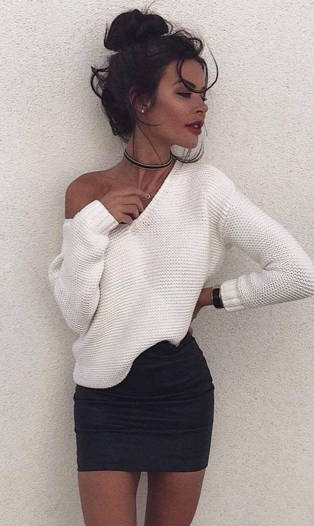 winter street style v neck sweater   black mini skirt you can get on amazon