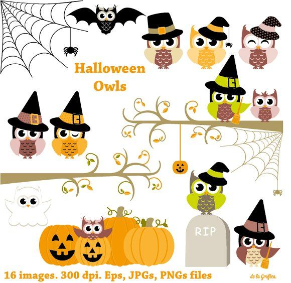 Halloween Owls. Happy Halloween by Delagrafica on @creativemarket Halloween Owls. Happy Halloween - Illustrations Like Save Halloween Owls. Happy Halloween - Illustrations - 1 This digital sheet is ideal for baby shower invitations, cupcake toppers, web design, graphic design, handmade craft items, printed paper items, scrapbooking, cards and so much more! Perfect for your personal use or small crafts business. You will receive: - 16 Halloween Owls Clip Art, Clipart. Happy Halloween elements eac