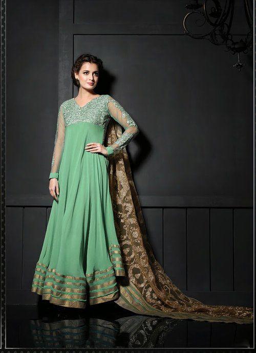 Ethnic Deep Mint Green Long Anarkali Suit