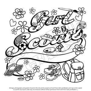 girl scout ribbon coloring pages girl scout day cartoon coloring