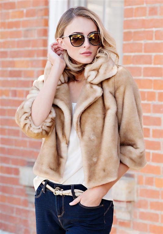 5a238c04b9d2 Champagne Mink Faux Fur Evening Jacket | Womens Faux Fur Jackets - Donna  Salyers Fabulous Furs