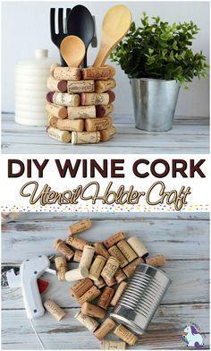 Weinkorken Bastelideen – DIY Küchenutensilienhalter