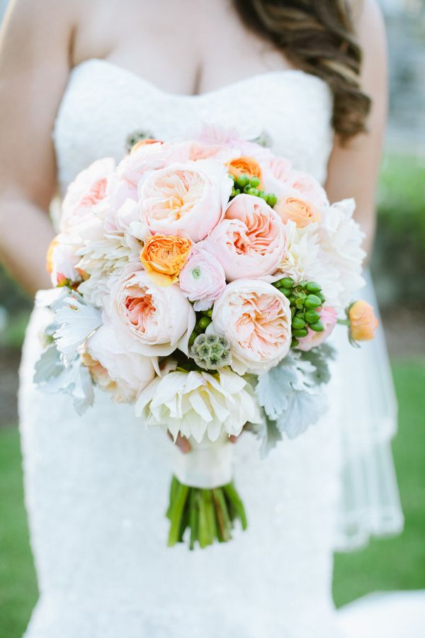 Such a romantic peachy wedding bouquet! Photo by Dear Darling Photography » KnotsVilla