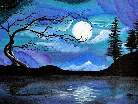 Tree Art Print  landscape surreal  original art by Angieclementine, $15.00