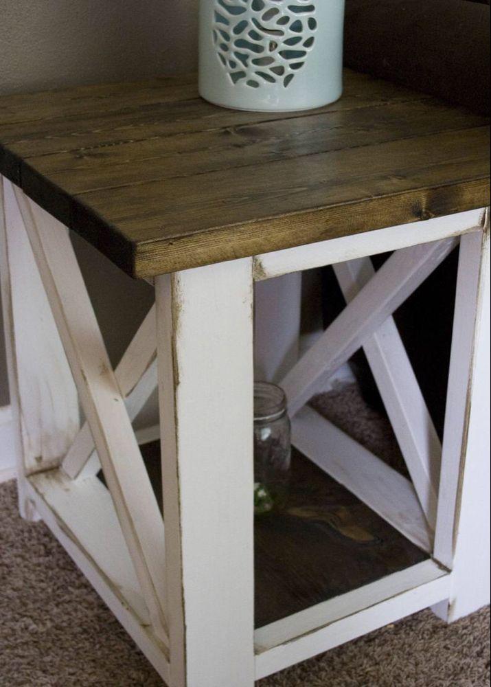 Custom Farmhouse End Table Rustic Side Table Living Room Etsy Farmhouse End Tables Rustic Side Table Living Room Side Table