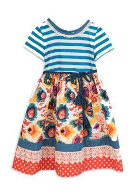 Rare Editions Girls' Floral Stripe Dress Girls 7-16 - Multi - 10