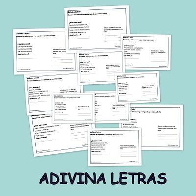 FICHAS DIDÁCTICAS: ADIVINALETRAS Os presentamos nuestro nuevo material las Adivinaletras. Un fantástico recurso educativo para favorecer el aprendizaje significativo de las letras y la comprensión…