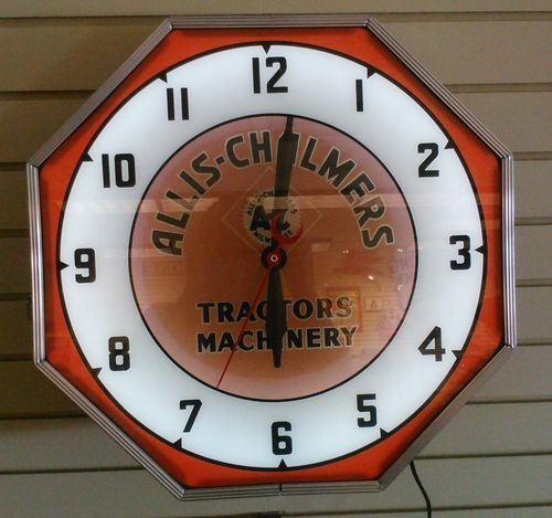 ALLIS-CHALMERS NEON CLOCK: Vintage Clocks, Lighted Advertising, Advertising Clocks, Allis Chalmers Neon, Neon Clocks, Collectible Clocks, Advertising Logo S