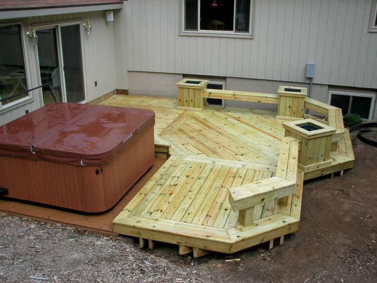 17 best images about small decks on pinterest hot tub for Hot tub deck plans