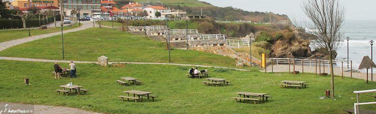 Picnic area at the beach of Santa María del Mar in Asturias, Spain.