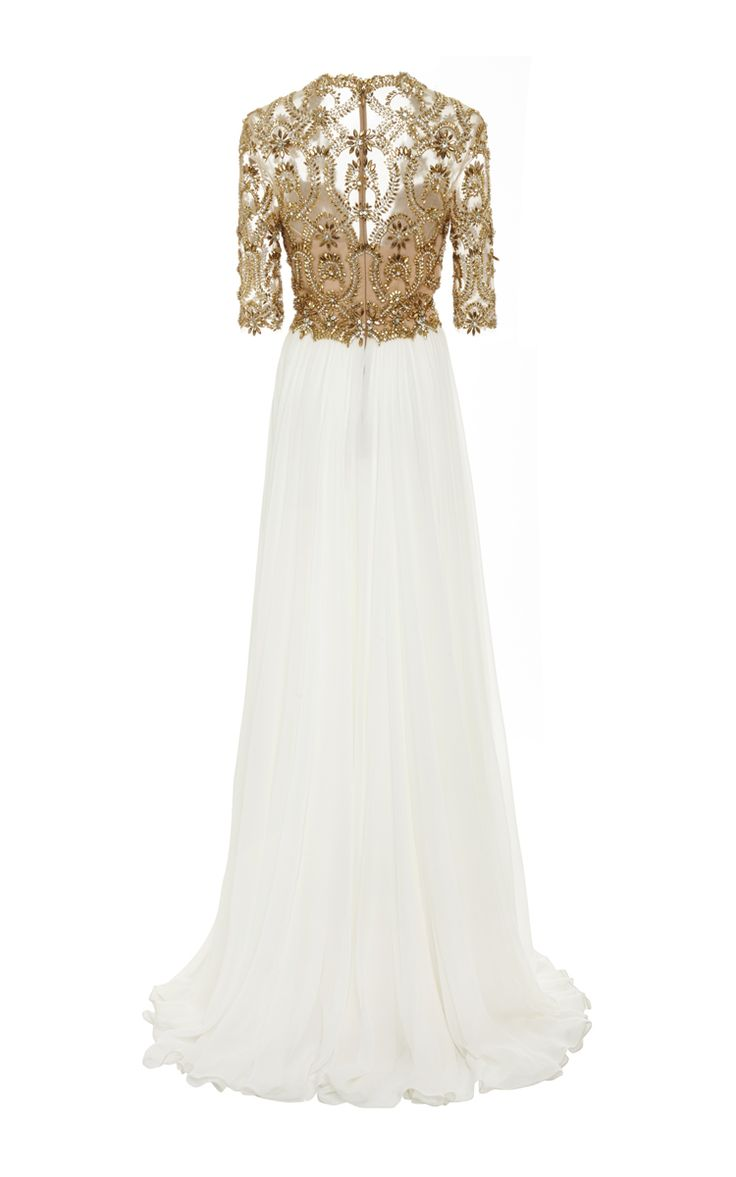Embroidered Illusion V-Neck Gown by Reem Acra for Preorder on Moda Operandi