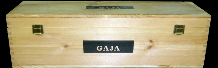 Gaja single bottle double magnum sized wine crate with dual latches, black embossed branding and a rich grain color