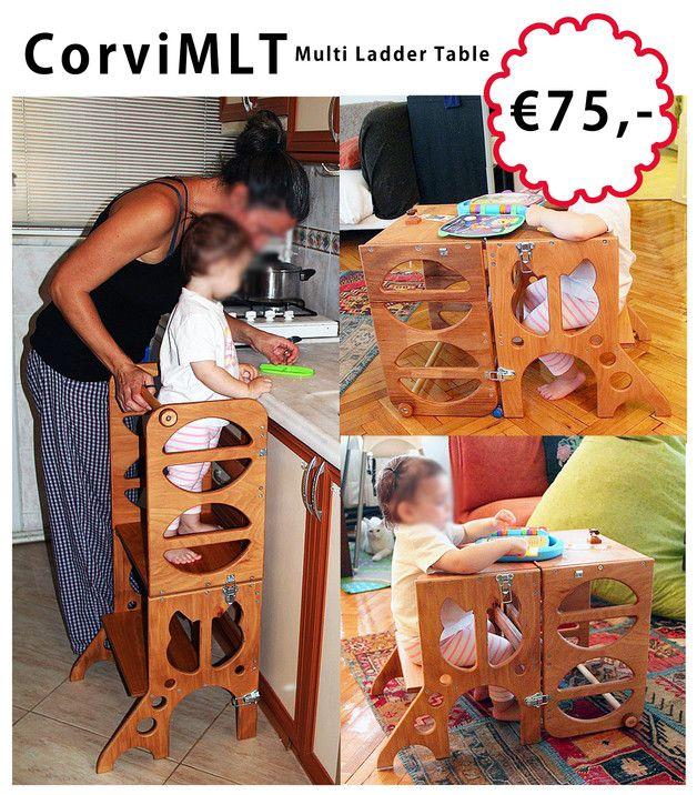 Küchentheken waren schon immer interessant für Kinder, aber ungeeignete Stühle usw. sind gefährlich. Hier ist ein sicherer Leiterturm, der nach der Benutzung in der Küche auch als Kindertisch...