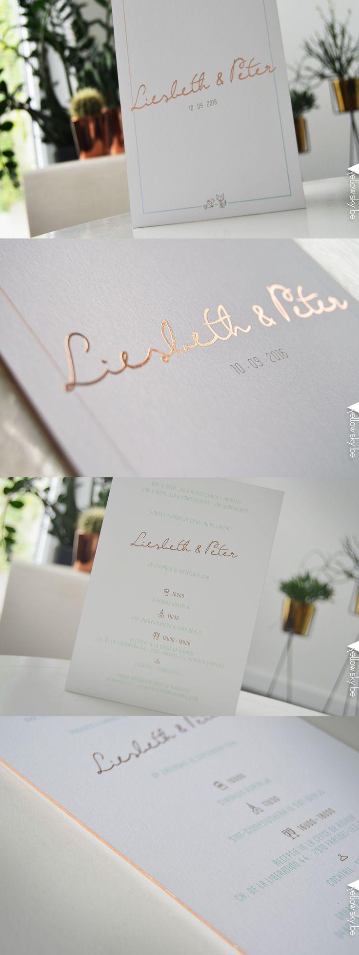 Stijlvolle trouwuitnodiging voor Liesbeth en Peter! Designed by Yellow Sky! #koperfolie #koper #pastel #trouwen #kaartje #uitnodiging #uniek