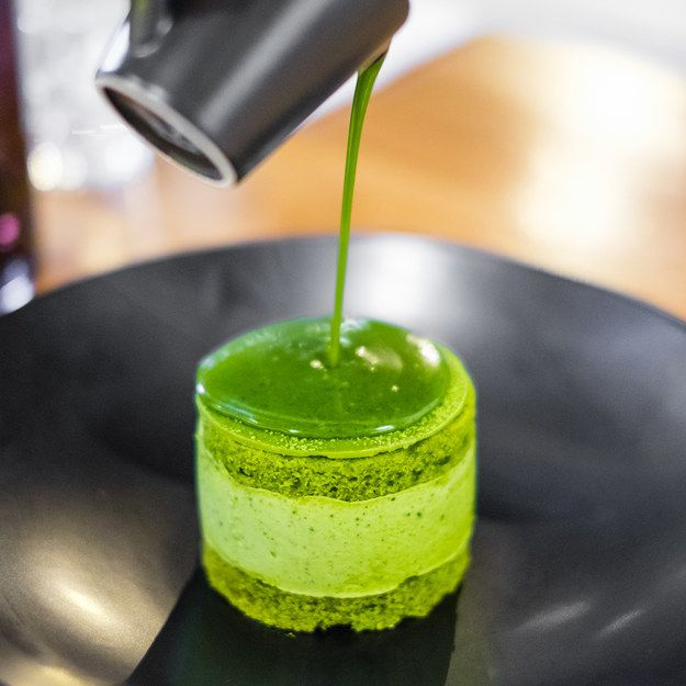 The shiny pour on this tiny matcha cake.   25 Perfect Things That Need To Be Destroyed Immediately