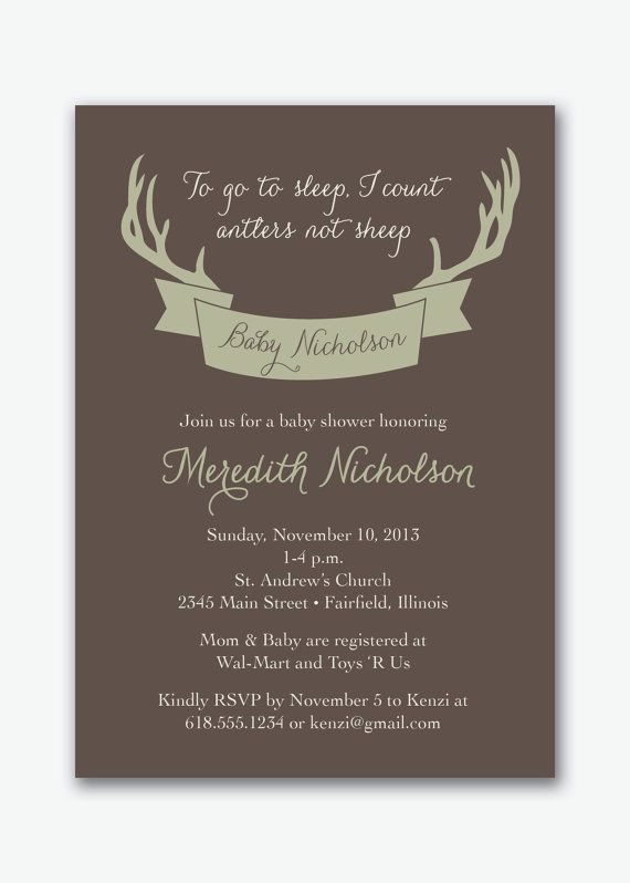ETSY deer antler hunting baby shower party invitation custom printable--digital file
