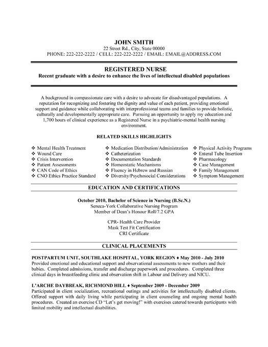 Nurses Resume Templates Nursing Resume Sample Writing Guide - mental health nurse resume