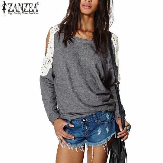 Zanzea Blusas 2016 Autumn Women Casual Sexy Lace Crochet Splice Off Shoulder Long Sleeve Tops Hoodies Sweatshirt Plus Size