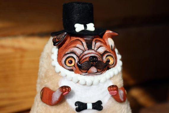 bulldog sculpture dog doll ooak animal dog pug toy bulldog art dog lover English bulldog figurine
