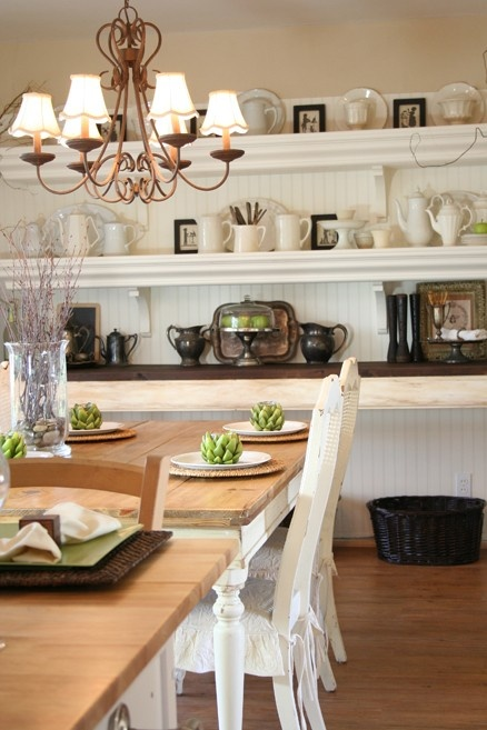 love this kitchen/dining space and open shelving