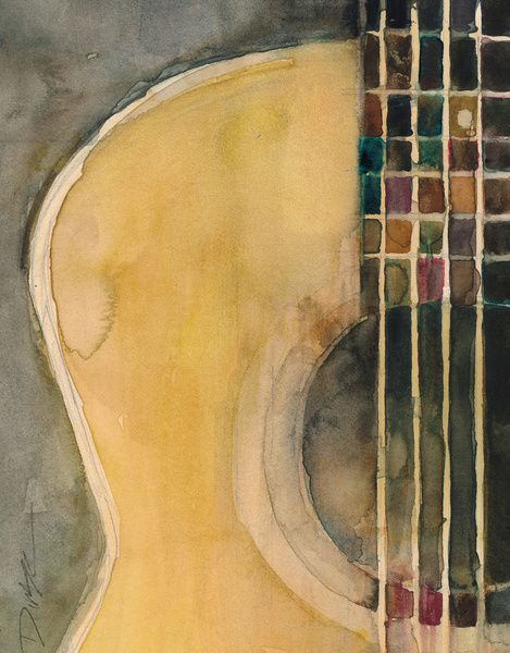 Guitar  Art Print ~ ugh. I really wish I could watercolor. :p