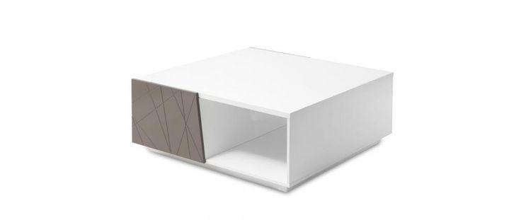 Mesa de centro lacada blanca y parda ALESSIA - Miliboo