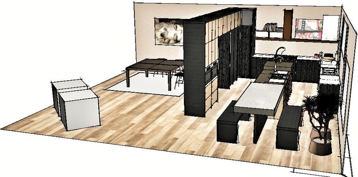 Rotating pantry is the main pillar of the storing wall that divide kitchen from dining.