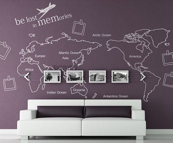 World Map Wall Decal Map Wall Sticker Travel Map Wall Decals World Map Wall  Murals White World Map Wall Decal World Map 1