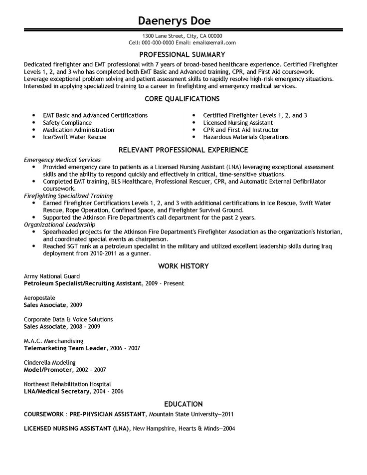 17 best Resumes images on Pinterest Resume, Sample resume and - certified emt resume
