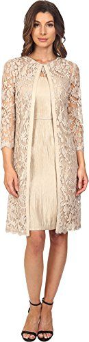 Adrianna Papell Women's Lace Yoke Shimmer Sheath & Jacket Champagne Dress 6. Made in USA or Imported.