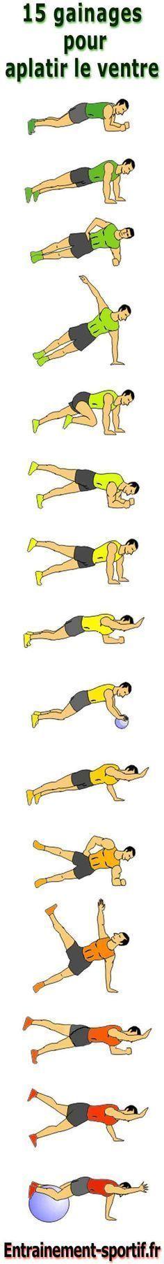 Programme #Musculation de 15 exercices faciles à faire chez soi pour perdre du #ventre en gainant la ceinture abdominale