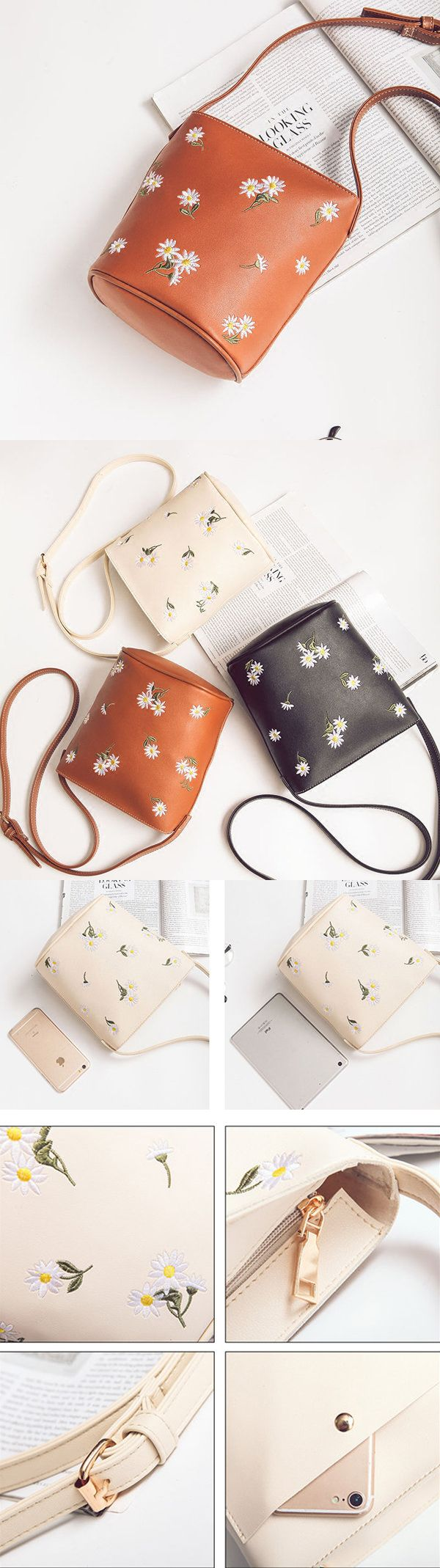 Women Floral Embroidery Bucket Bags Mini Crossbody Bags