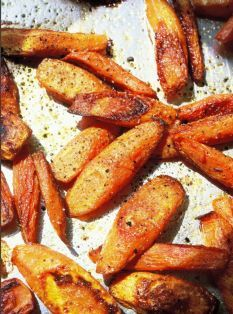 Easy Roasted Carrots... Roasting Root Veggies is a cinch and you need very few ingredients... think potatoes, brussel sprouts, parsnips, butternut squash, carrots. AND you can do a mix of a few of the above together... YUMMM!