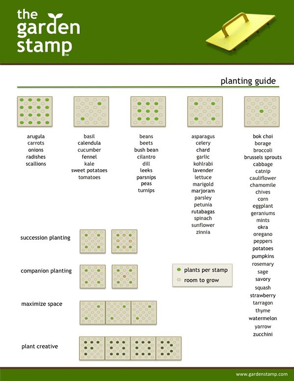 How to plant 64 common veggies, herbs and flowers using the Garden Stamp.