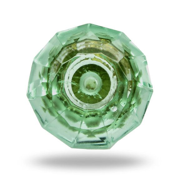 Glass Knob in Mint Green, Faceted Dresser Drawer Pull, Decorative Knob for a Kitchen Cupboard or Dresser Drawer, Furniture Knob and Hardware