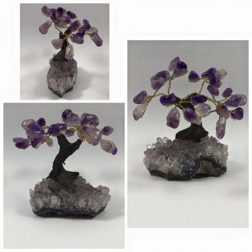 Amethyst crystal gemstone healing tree on Amethyst cluster #4. www.divineaura.com.au *****SOLD OUT*****