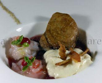 Le mie ricette - Cotto e crudo di ricciola, gamberi rossi e scampi, con freddo di cipolla rossa e spuma di fagioli cannellini