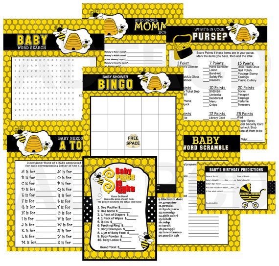 Mommy to Bee Baby Shower Party Games Games by ADTRCustomDesigns, $10.00