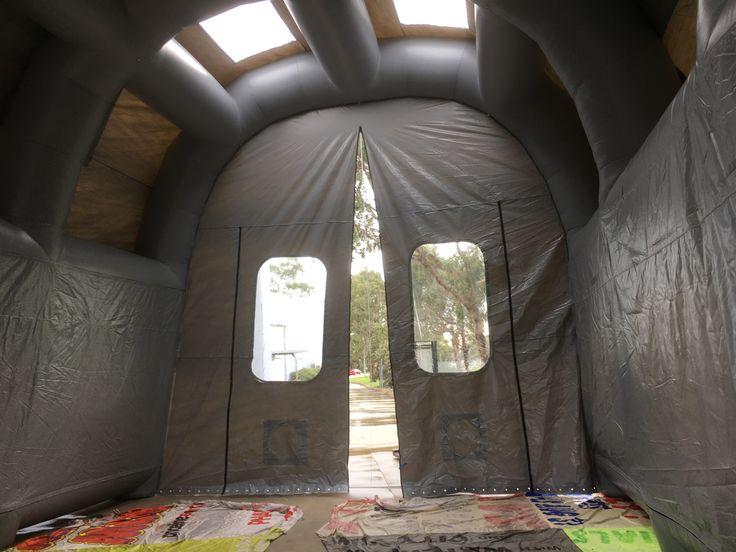 inside siemans blast shelter - inflatable industrial shelter