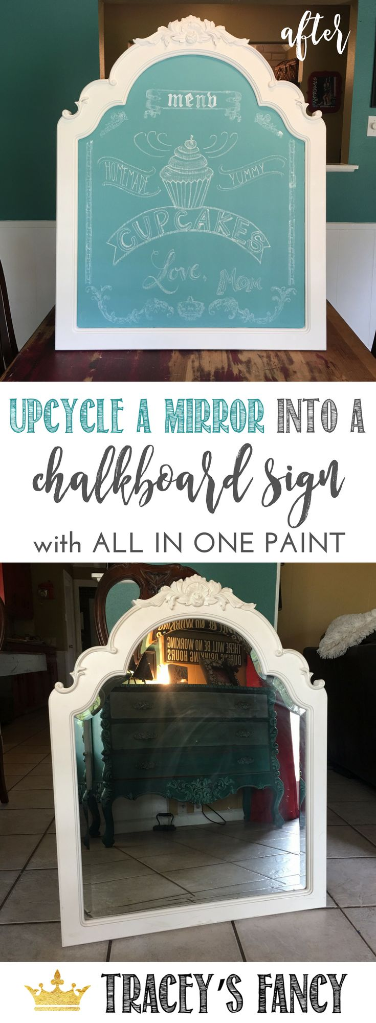 Upcycle a Mirror into a chalkboard sign - great for chalkboard menus and wall art. Furniture Painting Tips by TraceysFancy | DIY Chalkboard projects | Upcycled Projects | Gift Ideas | What to do with leftover mirrors | Repurposed Furniture Ideas | Furniture Flips