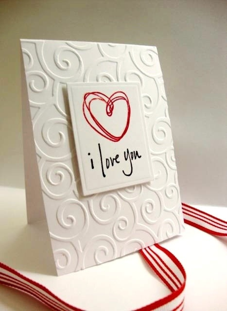 Embossed background, square punch.  Draw a heart or stamp a small image.  Handwrite a sentiment below and you are all done!